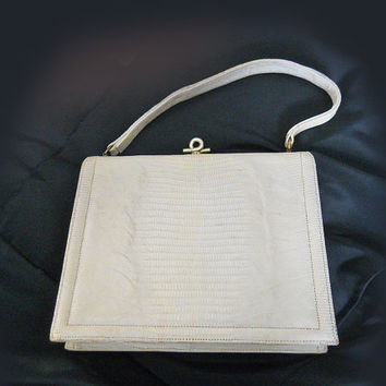 Vintage 50s Handbag in Embossed Alligator - 1950s Ivory Purse