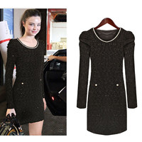 Long Sleeves Small Bubble Shoulder Lace Slim Fit Dress