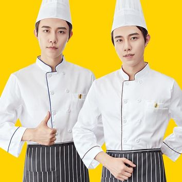 2018 Food Service Cloth Kitchen Chef Jackets Uniform Long Sleeve Hotel Cook Workwear Clothes Restaurant Chief Clothes