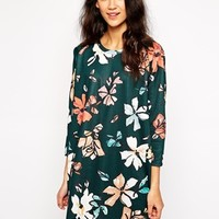 Pull&Bear Floral T-Shirt Dress