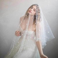 One Layer Ivory Pearl Bridal Fingertip Veil