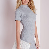 HIGH NECK OPEN BACK RIBBED DRESS GREY