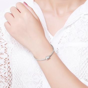 Moments Heart Bracelet & Bangle Authentic 100% 925 Sterling Silver Snake Chain