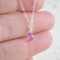 June Birthstone Necklace, Purple Pink Alexandrite Color, Tiny Kunzite Quartz Teardrop, Child's Jewelry, Sterling Silver