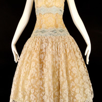 HARVEY BERIN-1950s Chantilly Lace & Silk Cocktail Dress, Bust 32