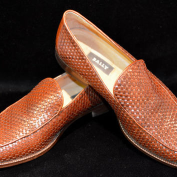 Vintage Men's Bally Brown Woven Leather Loafers 42 1/2