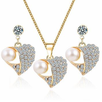 Romantic Heart Pattern Crystal Earrings Necklace Set Gold Color Chain Simulated Pearl Jewelry Sets Wedding Jewelry For Women