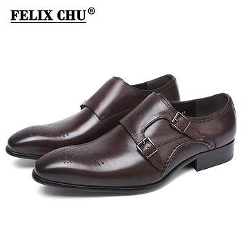 Men Dress Shoes Luxury New Genuine Real Leather Double Monk Strap Men's Dark Brown Formal Shoes