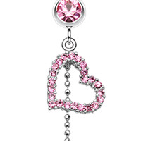Curved Heart Star Sparkle Belly Button Ring