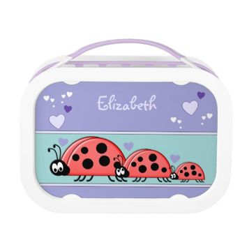 Cute ladybirds Purple Lunch Box