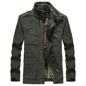Plus Size 5XL 6XL 7XL 8XL Brand AFS JEEP Military Jacket Men Cotton Stand Collar Embroidery Medium-long Autumn Jacket For Male