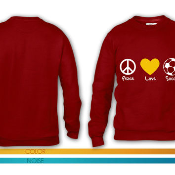 peace love and soccer crewneck sweatshirt