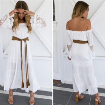 White Boho Crochet Bell Sleeves Off Shoulder Maxi Long Dress