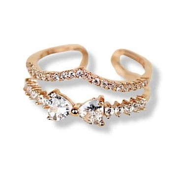 Double Layers V Shaped CZ Ring
