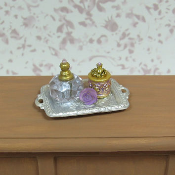 Dollhouse Miniature Elegant White Tray with Purple Bottles and Rose