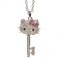 Hello Kitty Silver Face & Bow Key Necklace w/ Crystal Rhinestones