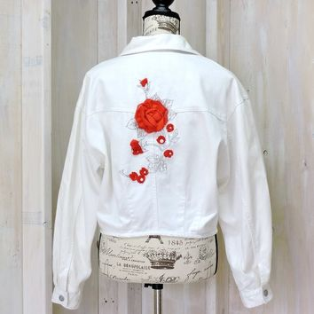 White denim jacket / size M / L / 90s jean jacket / Boho upcycled embroidered red roses