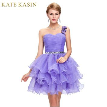 Sparkly Beaded Prom Dress Pink Blue Purple One Shoulder Ball Gown Vintage Short Prom Dresses Puffy Homecoming Dress