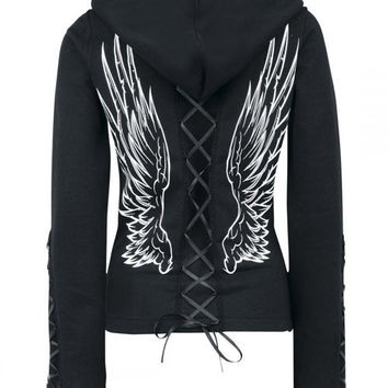 Black Hooded Long Sleeve Lace-Up Wing Pattern Hoodie