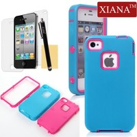 iPhone 4S Case, iPhone 4 Case, XIANA Full Protection Hybrid 3 Layer Soft Silicone Armor Hard Inner Case Cover Protector with Stylus,Screen Protector and Cleaning Cloth Suitable For Apple iPhone 4 4S(Blue+Rose Red)
