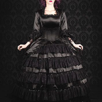 Christines' Wedding Gown from Phantom of the Opera.....Black Gothic Victorian Steampunk Gown Small