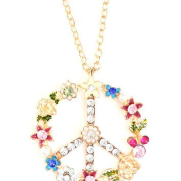 Peace Sign Necklace Flower Power Hippie Anti War ND17 Pink Crystal Dreamcatcher Pendant Fashion Jewelry