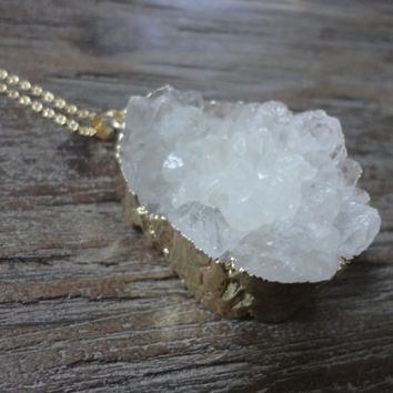 White Agate Druzy Gold Pendant Necklace/Large Crystals