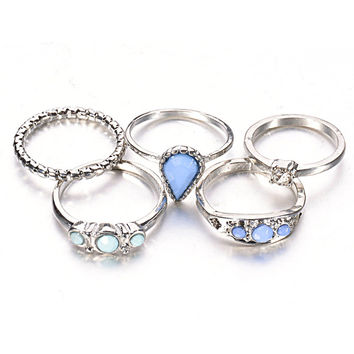 Accessory Vintage Diamonds Water Droplets Turquoise Ring Set [8581989063]