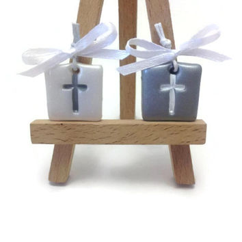 Wedding Favors, Wedding Decorations, Baptism Decorations, Cross Tags, Clay Crosses, Wedding Favors, Baptism Pendants, Martirka