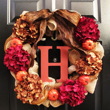 Fall Burlap Monogram Letter Wreath, Front Entry Wreath, Personalized Wood Letter, Autumn Decor, Hydrangea Orange Pumpkins