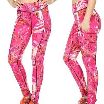 Print Active Leggings With pockets
