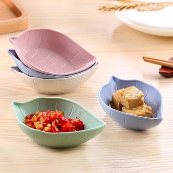 2Pcs Leaves Shape Baby Kids Dish Bowl Wheat Straw Soy Sauce Dish Rice Bowl Plate Sub - Plate Japanese Tableware Food Container