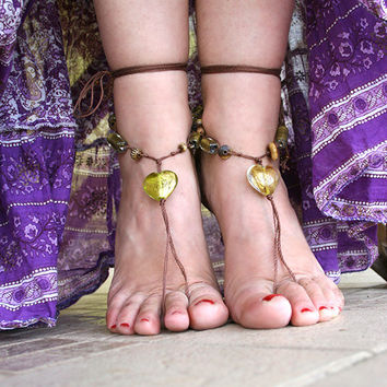 Hippie boho barefoot sandals beaded with glass and bone beads, Barefoot sandles, Bare foot, yoga anklet