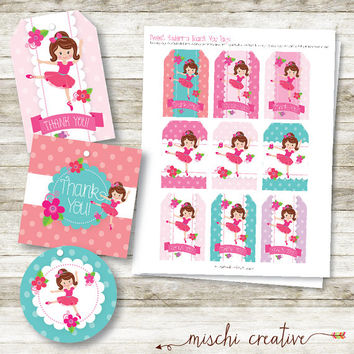 Sweet Ballerina Dance Party Birthday DIY Printable Thank You Favor Tags - 2 Styles!