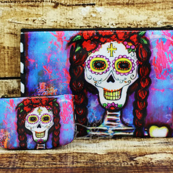 Sugar Skull Coin Purse - Bendita Mujer Dia De Los Muertos Change Purse - Credit Card Holder - Sugar Skull Art - Mexican Folk Art