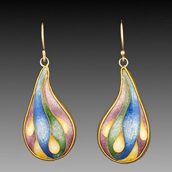All NEW  Cloches Gold and Cloisonne Enamel Earrings