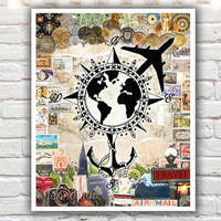 travel poster - wanderlust print - mixed media collage art - prints