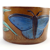 Blue Butterfly Leather Wrist Cuff Accessory Leather Jewelry