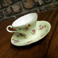 Antique Aynsley green floral corset cup, rosebud tea cup, flower bone china teacup, English tea set