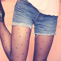Heart Pattern Black tights / pantyhose