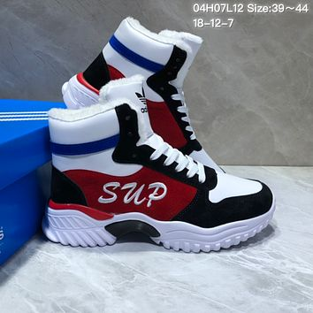 PEAP A467 Adidas High Band Fleece Warm Snow Boots White Black Red