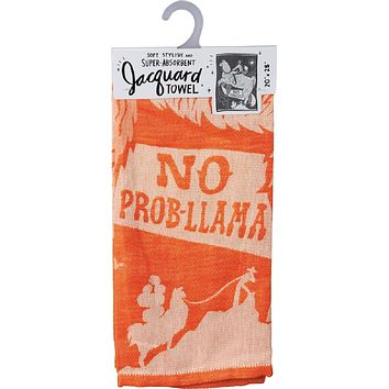 No Prob-Llama Cowboy Dish Towel in Orange