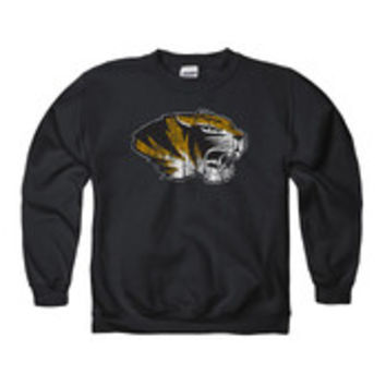 Missouri Tigers Kids Black Distressed Long Sleeve Crew Sweatshirt - 22780952