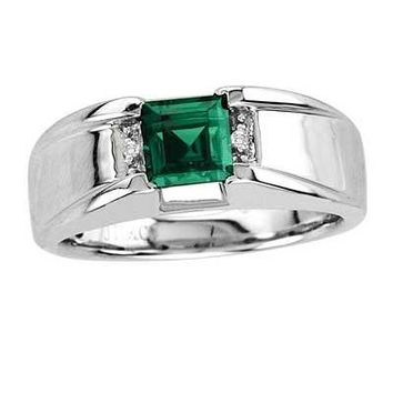 Men's 6.0mm Square-Cut Simulated Emerald and Diamond Accent Comfort Fit Ring in Sterling Silver - View All Rings - Zales