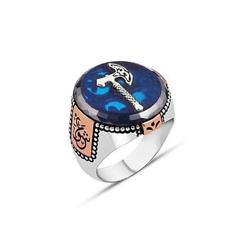 """Mens amber gemstone ring 925 sterling silver with ax calligraphy """"love"""""""
