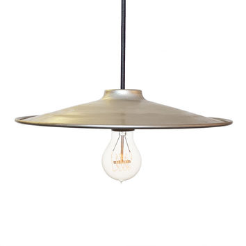 "Flat 12"" Cone Metal Shade Pendant Light- Steel"