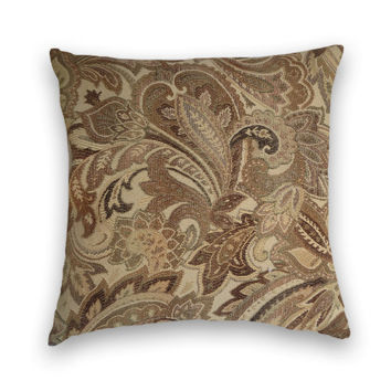 Light Colored Paisley Decorative Pillow Cover--20 x 20 Paisley Throw Pillow-Brown, Grey, Cream