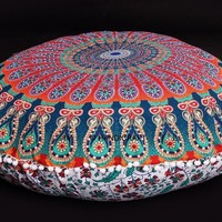 Large Floor Pouf Ottoman Tapestry Cover Pillows Indian Mandala Round Cushion Covers