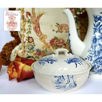 Antique Victorian Blue & White Botanical Floral Transferware Covered Soap Dish & Drainer