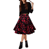 Women's Vintage 50's 60's Rockabilly Polka Dot Floral Print High Waist Ball Gown Cuite Party Casual Summer Skirts